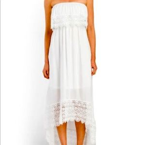 Solitaire Swim Cover Up White Lace Dress Strapless
